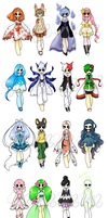 WIP Pokemon Gijinka adopts (7/8 done) by Mochikuu