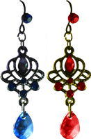 Earrings - Blue and Red by Thy-Darkest-Hour