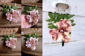 Blush Rose and Pussy Willow Boutonniere by ValkyrieOfODIN