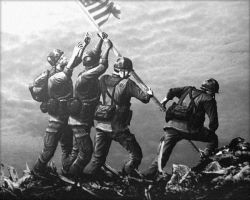 Raising the flag on Iwo Jima by Deniszizen
