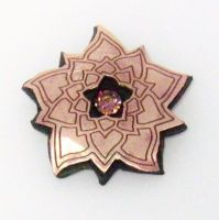 Rose Bronze and Steel Lotus Blossom Pendant by Peaceofshine