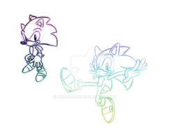 Two Sonics One Canvas by MostFabCortexAround