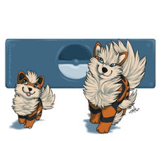 Growlithe and Arcanine by RoxiBeFox