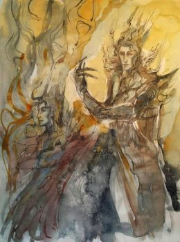 Sauron and Melkor by Cassiuseos