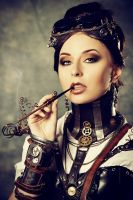 Steampunk girl with cigarett by Luria-XXII