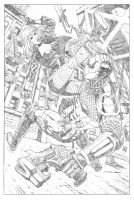 Black Canary VS Deathstroke by wgpencil