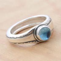 Spoon Ring with Blue Topaz Cabochon by metalsmitten