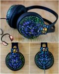 Stained glass wolf handpainted headphones by Lipwigs