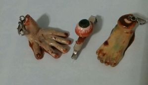 Halloween Realistic Zombie body parts charms / pin by ShadyDarkGirl