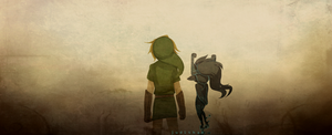 Link and Midna - twilight mist by judithan