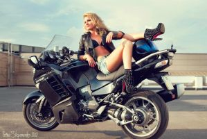girl on motorcycle by IrinaStepanenko