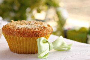 Coconut muffins with marzipan by kupenska
