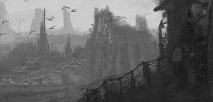 grayscale water dam ruin by neomely