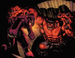 Red Hulk vs Iron Man by xXNightblade08Xx