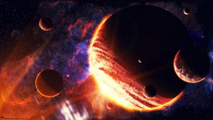 Gas planet with 7 moons  [HDTV (1080)] by DANCE-of-COBRA