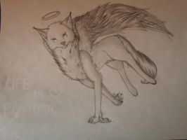 Long-throat Winged Wolf by YumiTheWolf