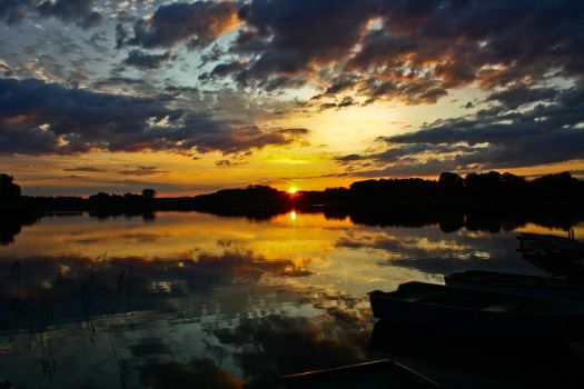 Sunset over the lake 2 by Mrooq