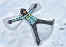 Clem makes a Snow Angel by JonGon