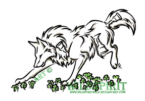 Clover Romp Wolf Tattoo by WildSpiritWolf