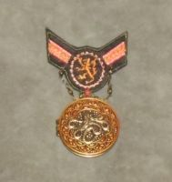 Burnished Copper and Red Lion Cthulhu War Medal 1 by Windthin