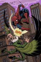 spider-man vs. the vulture by jaketerlecki