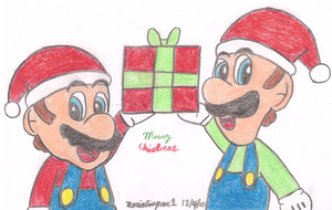 Mario and Luigi Christmas by MarioSimpson1