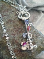 Antique Skeleton Key- Silver Wire Wrapped Necklace by DaisyLeeDesigns