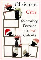 Free Christmas Cats Photoshop Brushes + Png's by ibjennyjenny