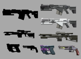 Sci-fi Gun concepts by ColdDegree