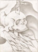skull with feathers by bigjbway23