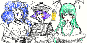 trio darkstalkers lady by borockman
