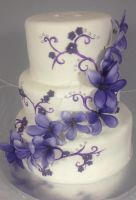Lavender Cascading Wedding Cake by simplysweets