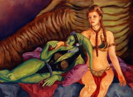 Slave Leia and Oola by bfowler