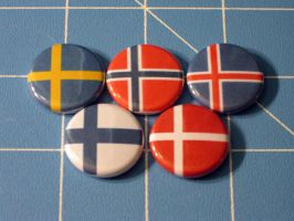 Hetalia Nordic Flag Badges by PaperCadence