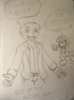 Charles Martinet and Mario by EUAN-THE-ECHIDHOG