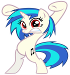 Vinyl Scratch in Pinkie Pie's 'Watch Out' pose by JanoCota