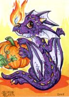 ACEO Halloween Dragon Kid by Nenu