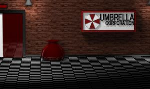 Umbrella Corp hallway by azieser