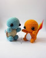 Chibi Squirtle and Chamander Amigurumi by LeFay00