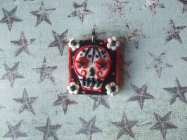Polymer clay Sugar Skull Necklace by XxSierraRose