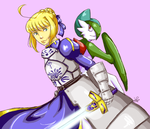 Saber and Gallade by shirochan