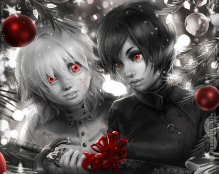 FANART Christmas| Hellsing (Seras) + Saya (Blood+) by Wespenfresser