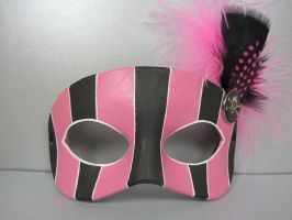Black and Pink gothic masquerade mask by maskedzone