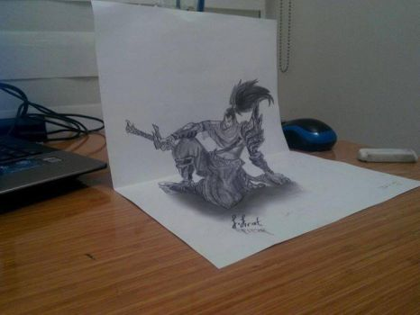 Yasuo 3D Drawing - Legends of Leagues by vexilloid