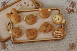 Scale 1:12 Miniature Assorted Animal-Shaped-Bread by asuka-sakumo