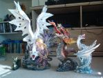 My newest dragon statues by crazedperson