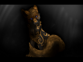 Within the darkness the blue eyes shined:. PCM by mutt-x