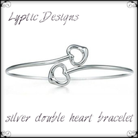 Silver Double Heart Bracelet by LypticDesigns