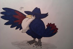 Old Pokemon drawing no.2 Honchkrow by Randomous