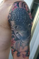 Buddha arm tattoo project by graynd